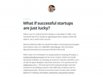 What if successful startups are just lucky?